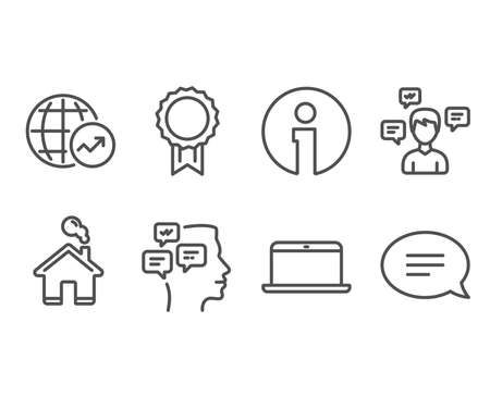 Set of Conversation messages, Reward and Messages icons. World statistics, Laptop and Chat signs. Communication, Best medal, Notifications. Global report, Mobile computer, Speech bubble. Vector
