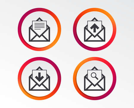 Mail envelope icons. Find message document symbol. Post office letter signs. Inbox and outbox message icons. Infographic design buttons. Circle templates. Vector Illustration