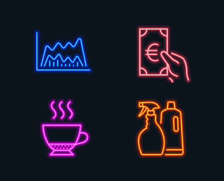 Neon lights. Set of Espresso, Trade chart and Finance icons. Shampoo and spray sign. Hot drink, Market data, Eur cash. Washing liquids.  Glowing graphic designs. Vector