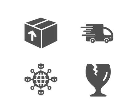 Set of Package, Truck delivery and Logistics network icons. Fragile package sign. Delivery pack, Express service, International tracking. Safe shipping.  Quality design elements. Classic style. Vector Foto de archivo - 101610131