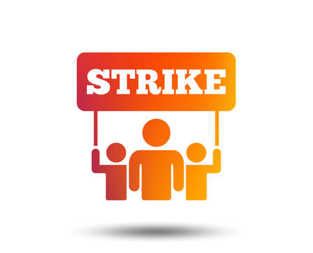 Strike sign icon. Group of people symbol. Industrial action. People holding protest banner. Blurred gradient design element. Vivid graphic flat icon. Vector Illustration