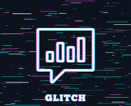 Glitch effect. Chart line icon. Report graph or Sales growth sign in speech bubble. Analysis and Statistics data symbol. Background with colored lines. Vector
