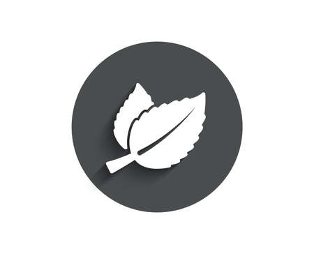 Mint leaves simple icon. Herbal leaf sign. Tea with Mentha symbol. Circle flat button with shadow. Vector Çizim