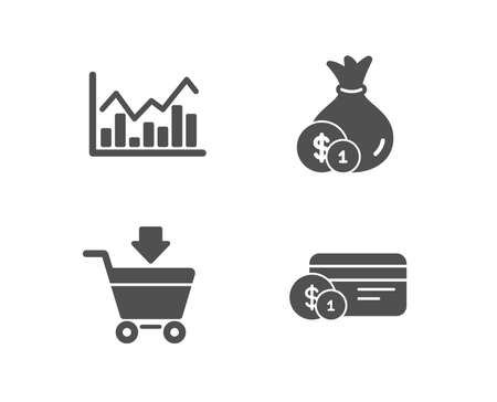 Set of Infochart, Cash and Online market icons. Payment method sign. Stock exchange, Banking currency, Shopping cart. Cash or non-cash payment.  Quality design elements. Classic style. Vector