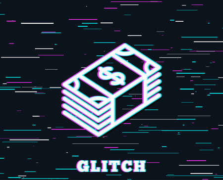 Glitch effect. Cash money line icon. Banking currency sign. Dollar or USD symbol. Background with colored lines. Vector Illustration