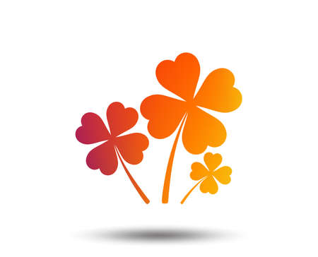 Clovers with four leaves sign icon. Saint Patrick symbol. Blurred gradient design element. Vivid graphic flat icon. Vector