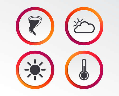 Weather icons. Cloud and sun signs. Storm symbol. Thermometer temperature sign. Infographic design buttons. Circle templates. Vector Illustration