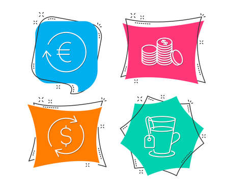 Set of Dollar exchange, Exchange currency and Banking money icons. Tea sign. Banking rates, Cash finance, Glass mug.  Flat geometric colored tags. Vivid banners. Trendy graphic design. Vector