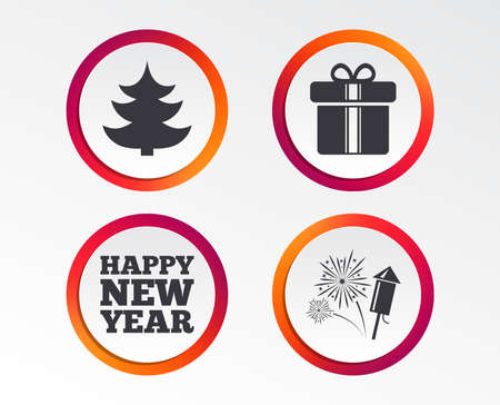 Happy new year icon. Christmas tree and gift box signs. Fireworks rocket symbol. Infographic design buttons. Circle templates. Vector
