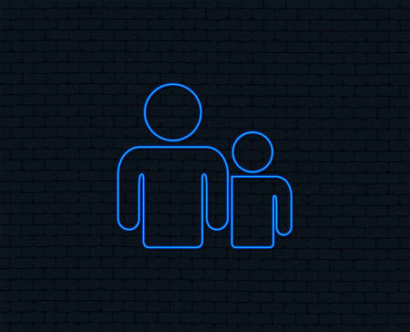 Neon light. Group of people sign icon. Share symbol. Glowing graphic design. Brick wall. Vector