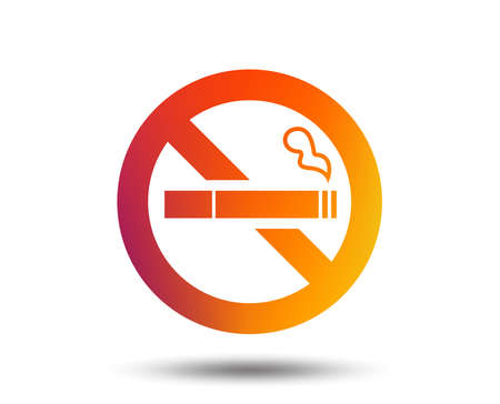 No Smoking sign icon. Quit smoking. Cigarette symbol. Blurred gradient design element. Vivid graphic flat icon. Vector Illustration