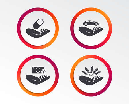 Helping hands icons. Protection and insurance symbols. Save money, car and health medical insurance. Agriculture wheat sign. Infographic design buttons. Circle templates. Vector 版權商用圖片 - 101610259