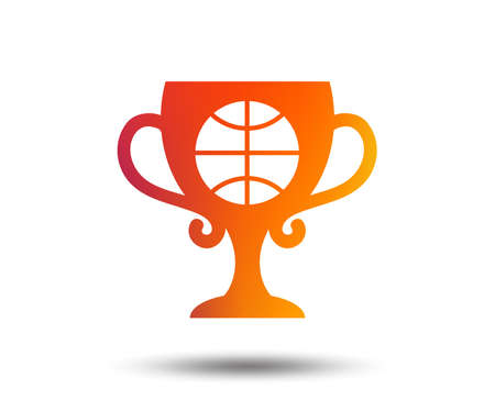 Basketball sign icon. Sport symbol. Winner award cup. Blurred gradient design element. Vivid graphic flat icon. Vector