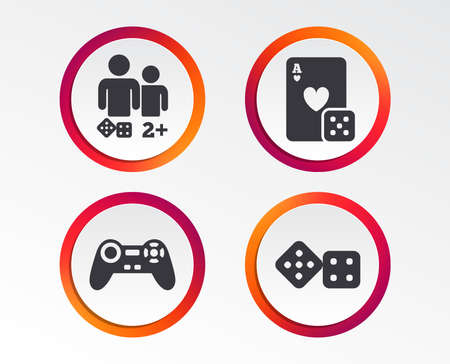 Gamer icons. Board games players signs. Video game joystick symbol. Casino playing card. Infographic design buttons. Circle templates. Vector Foto de archivo - 101831864