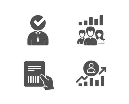 Set of Vacancy, Teamwork results and Parcel invoice icons. Career ladder sign. Businessman concept, Group work, Delivery document. Manager results.  Quality design elements. Classic style. Vector