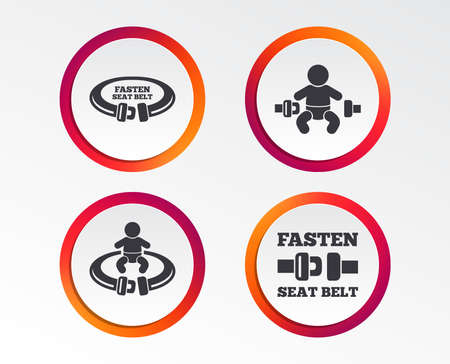 Fasten seat belt icons. Child safety in accident symbols. Vehicle safety belt signs. Infographic design buttons. Circle templates. Vector