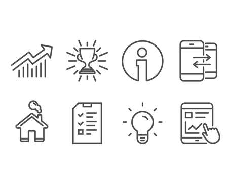 Set of Phone communication, Demand curve and Trophy icons. Interview, Light bulb and Internet report signs. Incoming and outgoing calls, Statistical report, Winner cup. Vector Illustration