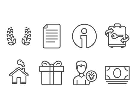 Set of Laurel wreath, Gift box and File icons. Person idea, Luggage and Cash money signs. Laureate reward, Present package, Paper page. Lamp energy, Baggage locker, Banking currency. Vector Çizim