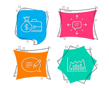 Set of Message, Salary and Sms icons. Infographic graph sign. Speech bubble, Diplomat with money bag, Conversation. Line diagram.  Flat geometric colored tags. Vivid banners. Trendy graphic design