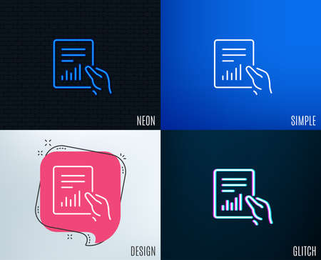 Glitch, Neon effect. Hold Report document line icon. Analysis Chart or Sales growth sign. Statistics data symbol. Trendy flat geometric designs. Vector Imagens - 101831877