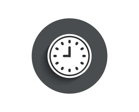 Clock simple icon. Time sign. Office Watch or Timer symbol. Circle flat button with shadow. Vector Illustration