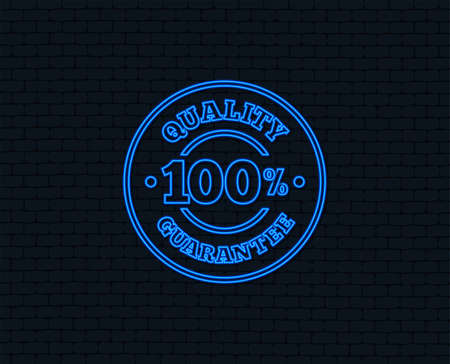 Neon light. 100% quality guarantee sign icon. Premium quality symbol. Glowing graphic design. Brick wall. Vector