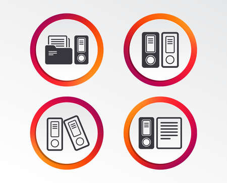 Accounting icons. Document storage in folders sign symbols. Infographic design buttons. Circle templates. Vector