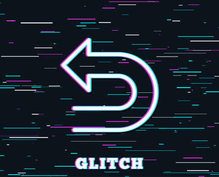Glitch effect. Undo arrow line icon. Left turn direction symbol. Navigation pointer sign. Background with colored lines. Vector Illustration