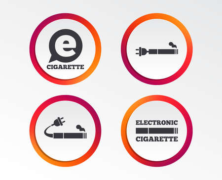 E-Cigarette with plug icons. Electronic smoking symbols. Speech bubble sign. Infographic design buttons. Circle templates. Vector