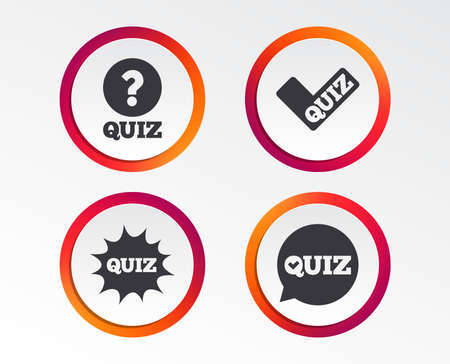 Quiz icons. Speech bubble with check mark symbol. Explosion boom sign. Infographic design buttons. Circle templates. Vector Stock Illustratie
