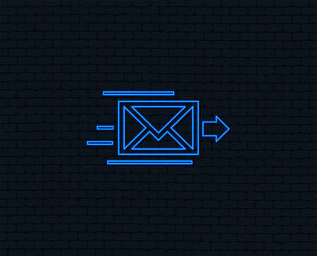 Neon light. Mail delivery icon. Envelope symbol. Message sign. Mail navigation button. Glowing graphic design. Brick wall. Vector
