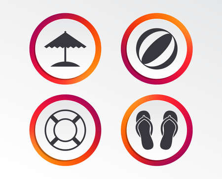 Beach holidays icons. Ball, umbrella and flip-flops sandals signs. Lifebuoy symbol. Infographic design buttons. Circle templates. Vector