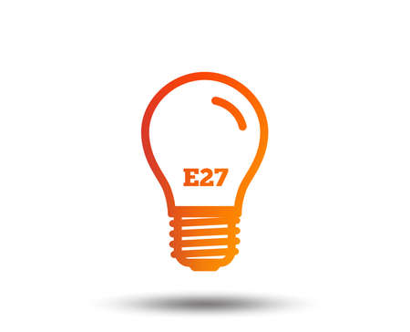 Light bulb icon. Lamp E27 screw socket symbol. Led light sign. Blurred gradient design element. Vivid graphic flat icon. Vector
