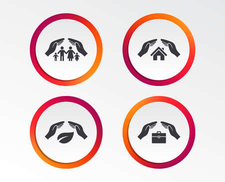 Hands insurance icons. Human life insurance symbols. Nature leaf protection symbol. House property insurance sign. Infographic design buttons. Circle templates. Vector Standard-Bild - 101831910