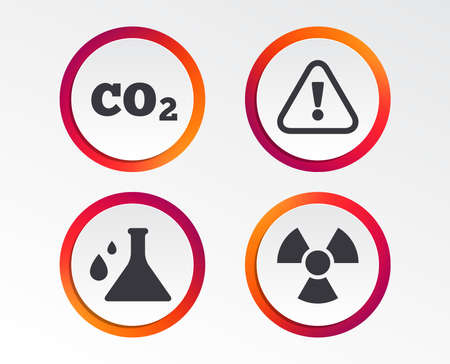 Attention and radiation icons. Chemistry flask sign. CO2 carbon dioxide symbol. Infographic design buttons. Circle templates. Vector Illustration