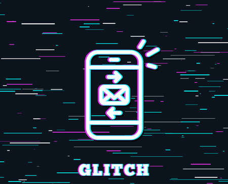 Glitch effect. Mail line icon. Smartphone communication symbol. Business chat sign. Background with colored lines. Vector
