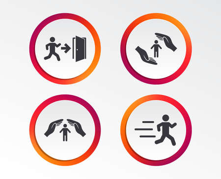 Life insurance hands protection icon. Human running symbol. Emergency exit with arrow sign. Infographic design buttons. Circle templates. Vector Standard-Bild - 101831934
