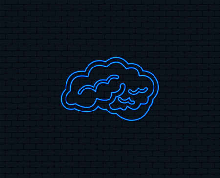 Neon light. Brain with cerebellum sign icon. Human intelligent smart mind. Glowing graphic design. Brick wall. Vector