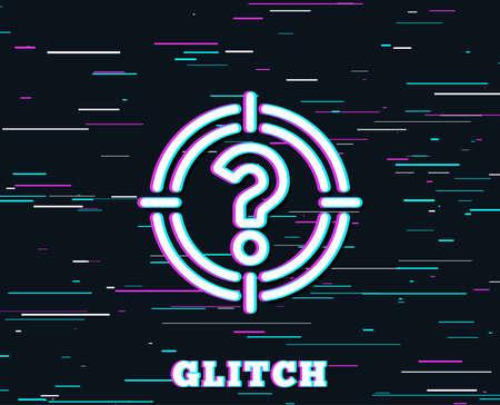 Glitch-Effekt. Ziel mit Fragezeichen-Liniensymbol. Zielsymbol. Hilfe oder FAQ-Zeichen. Hintergrund mit farbigen Linien. Vektor