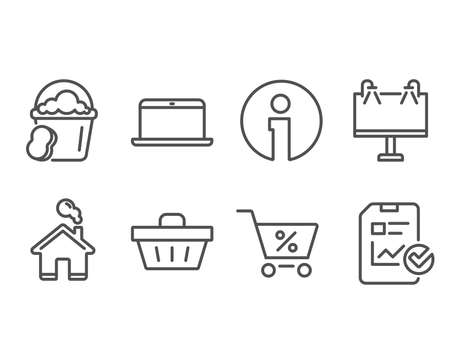 Set of Special offer, Shopping basket and Sponge icons. Laptop, Road banner and Report checklist signs. Discounts, Sale offer, Cleaner bucket. Mobile computer, Advertisement, Sales growth file