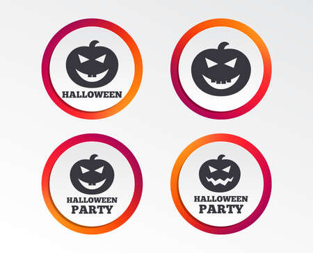 Halloween pumpkin icons. Halloween party sign symbol. All Hallows Day celebration. Infographic design buttons. Circle templates. Vector