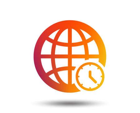 World time sign icon. Universal time globe symbol. Blurred gradient design element. Vivid graphic flat icon. Vector