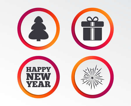 Happy new year icon. Christmas tree and gift box signs. Fireworks explosive symbol. Infographic design buttons. Circle templates. Vector