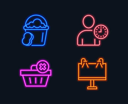 Neon lights. Set of Delete order, Time management and Sponge icons. Road banner sign. Clean basket, User with clock, Cleaner bucket. Advertisement.  Glowing graphic designs. Vector