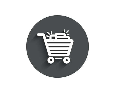 Shopping cart simple icon. Sale Marketing symbol. Special offer sign. Circle flat button with shadow. Vector