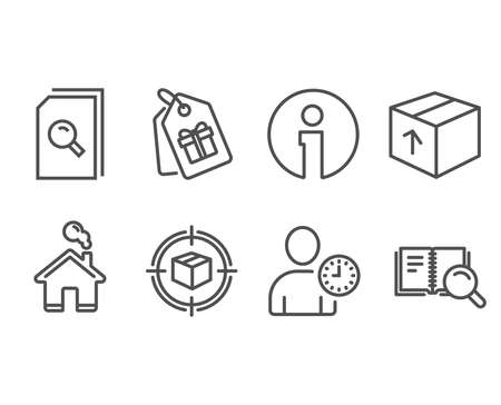 Set of Package, Search files and Parcel tracking icons. Time management, Coupons and Search book signs. Delivery pack, Magnifying glass, Box in target. User with clock, Shopping tags, Online education