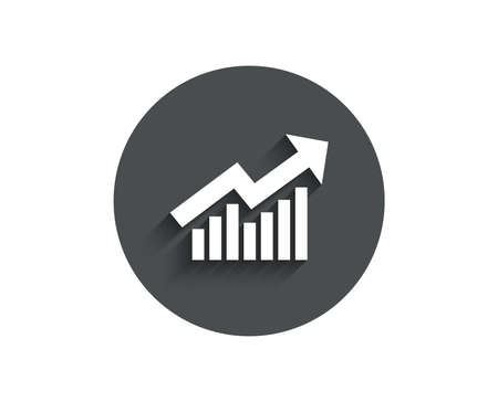 Chart simple icon. Report graph or Sales growth sign. Analysis and Statistics data symbol. Circle flat button with shadow. Vector