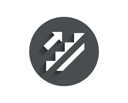 Stairs simple icon. Shopping stairway sign. Entrance or Exit symbol. Circle flat button with shadow. Vector