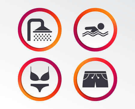 Swimming pool icons. Shower water drops and swimwear symbols. Human swims in sea waves sign. Trunks and women underwear. Infographic design buttons. Circle templates. Vector Illustration