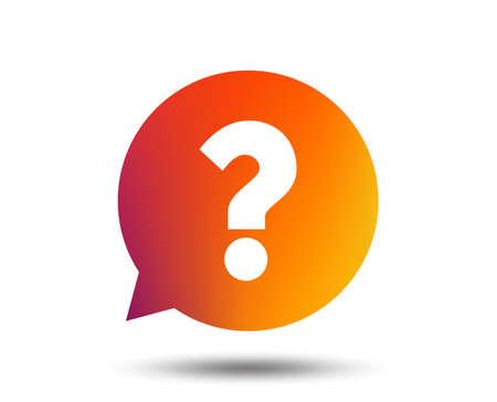 Question mark sign icon. Help speech bubble symbol. FAQ sign. Blurred gradient design element. Vivid graphic flat icon. Vector Ilustrace